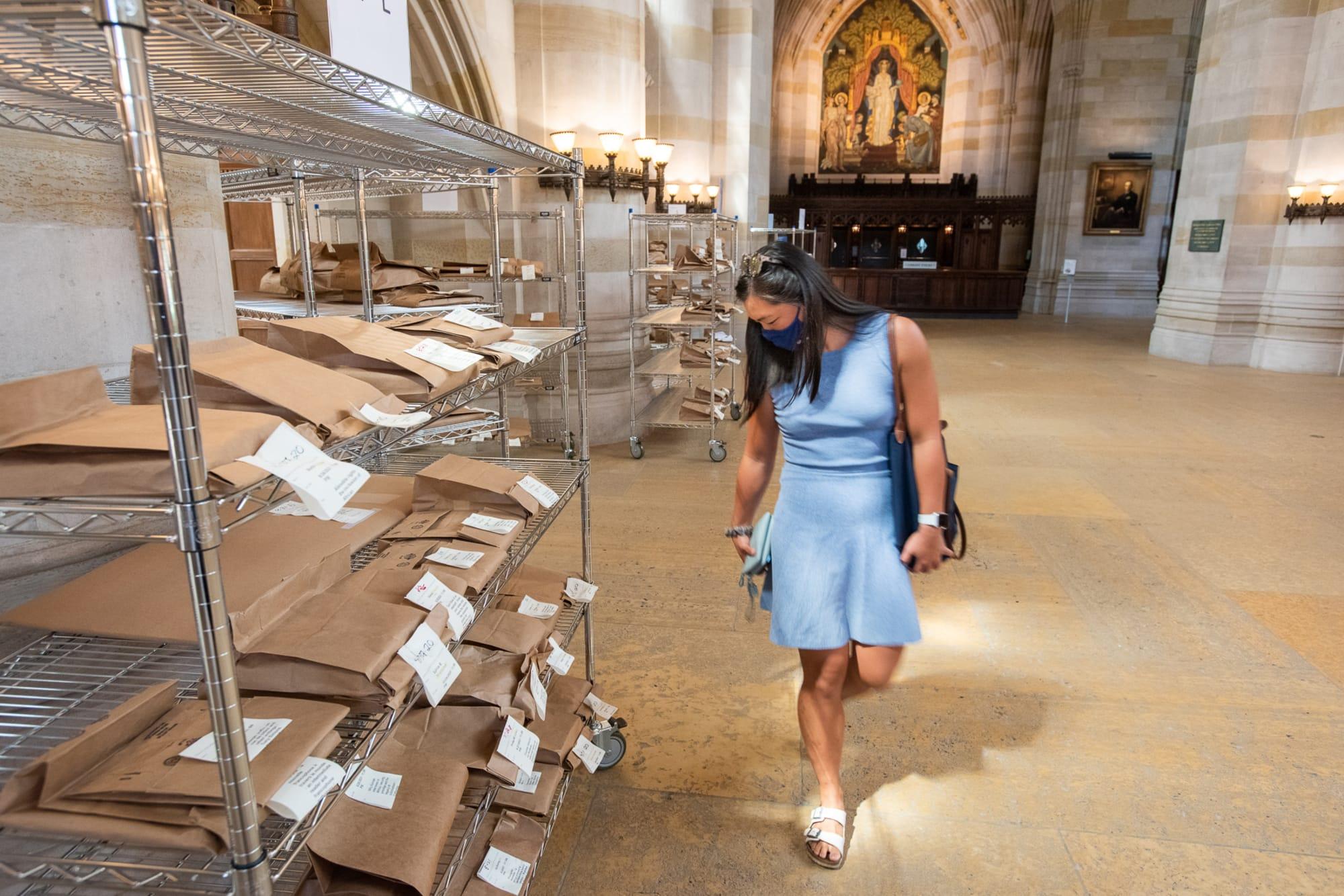 Woman in a blue dress looks at metal racks of brown paper bags in Sterling nave.
