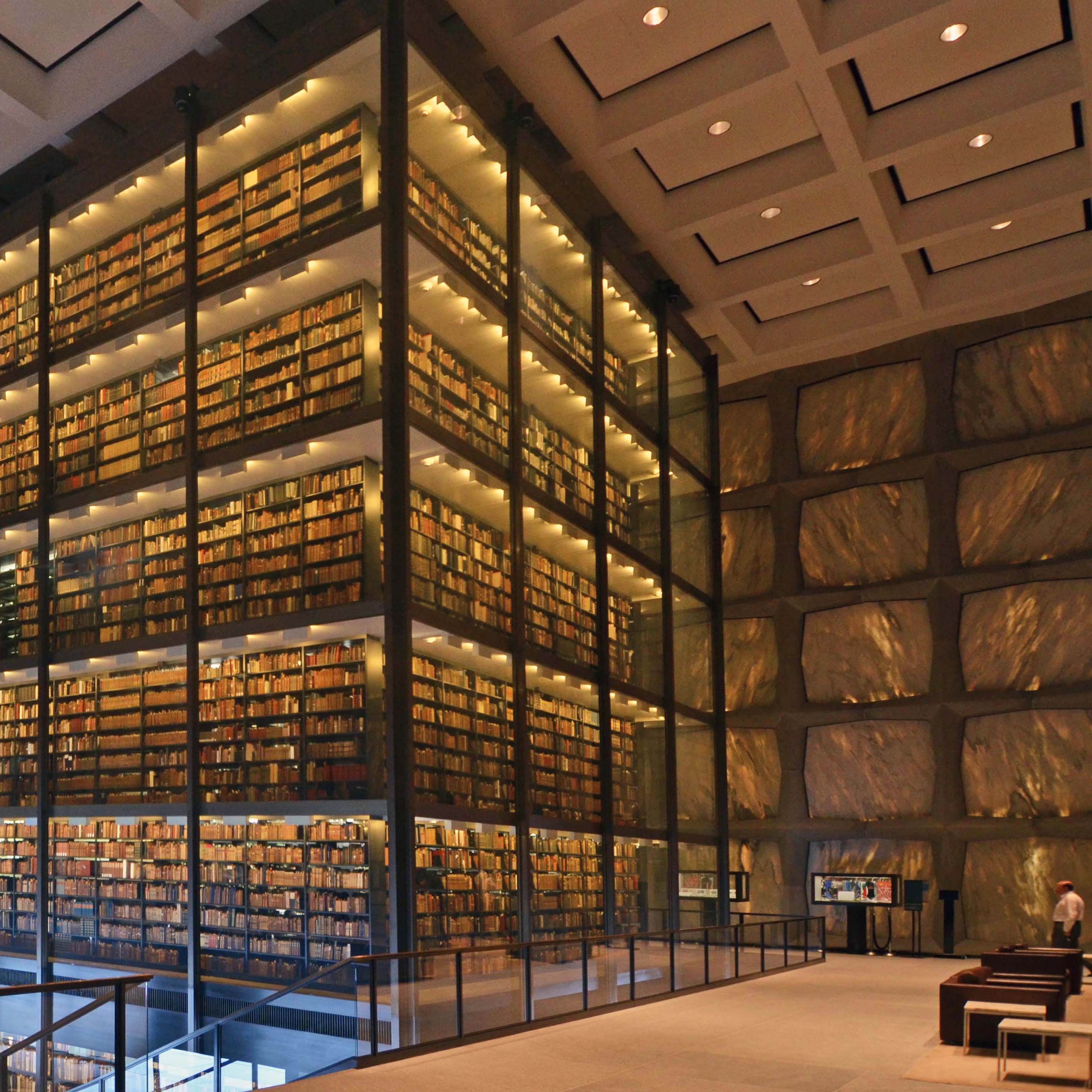 The bookstacks inside Beinecke Library