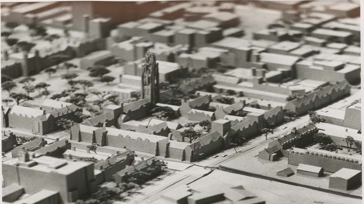 Black and white image of architectural model of Yale campus