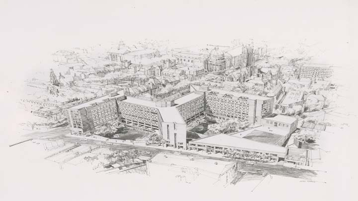 back and white Drawing of residential colleges