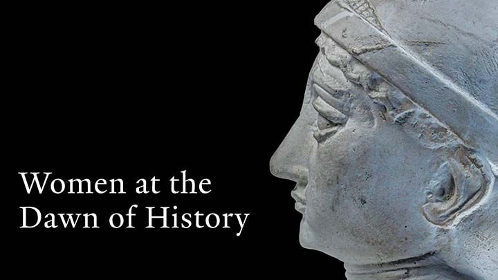 A head sculpture and Women at the Dawn of History text in black background