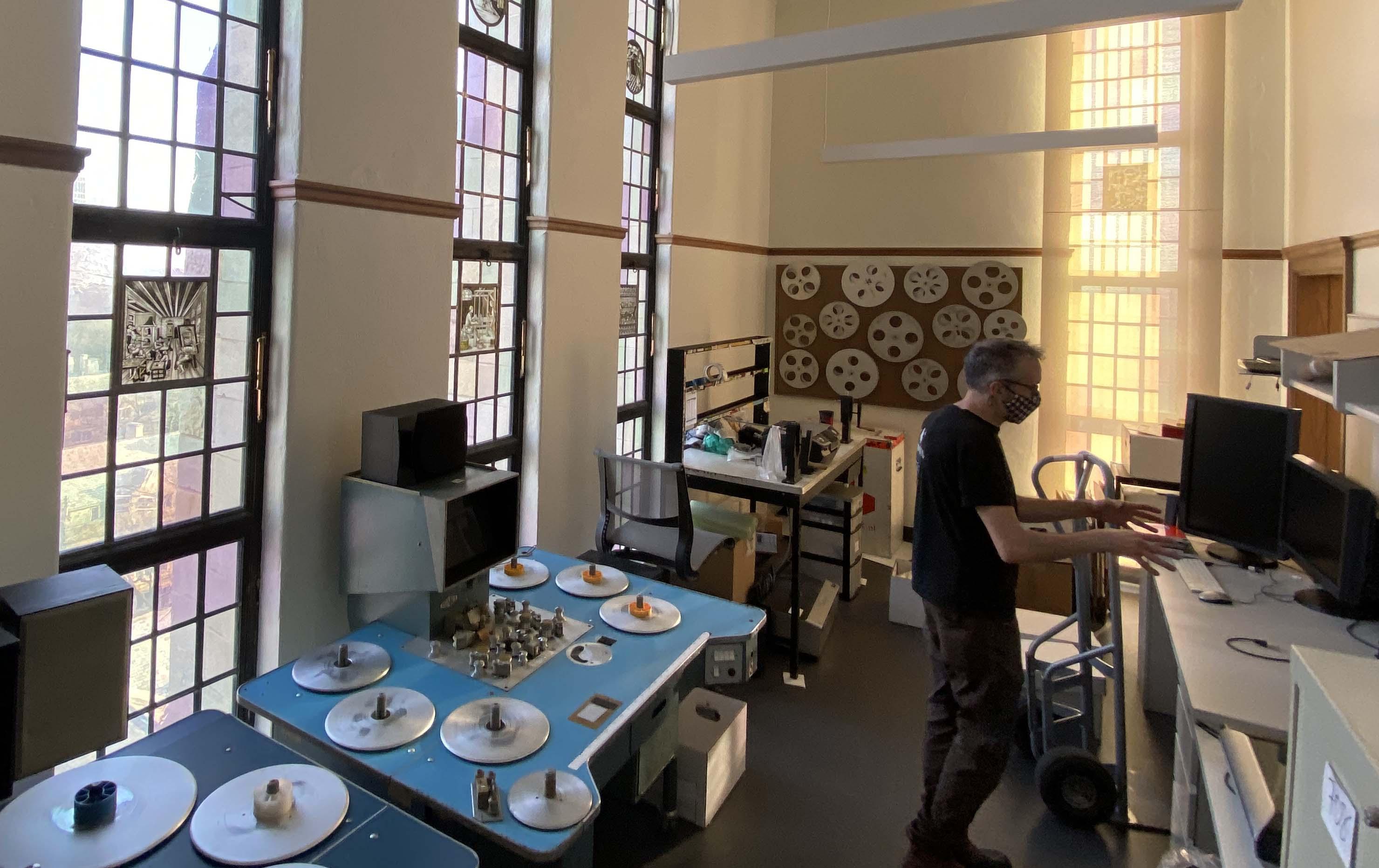 Room full of film recording equipment