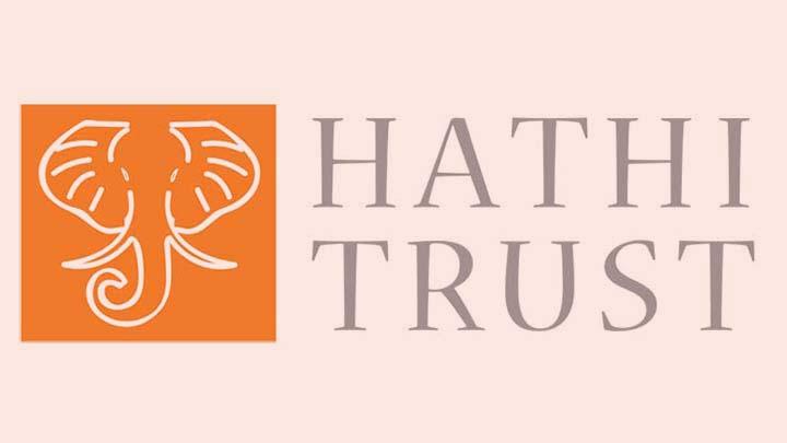 White elephant design on orange background with Hathi Trust in lettering