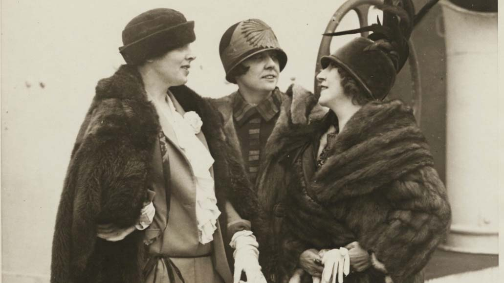Three women on board a ship