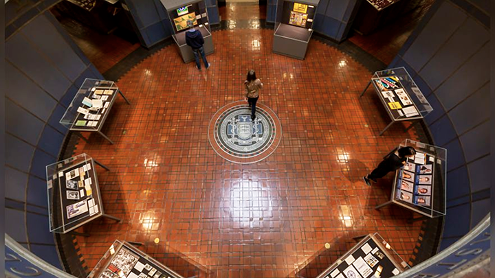 Aerial view of the Medical Library rotunda showing display cases
