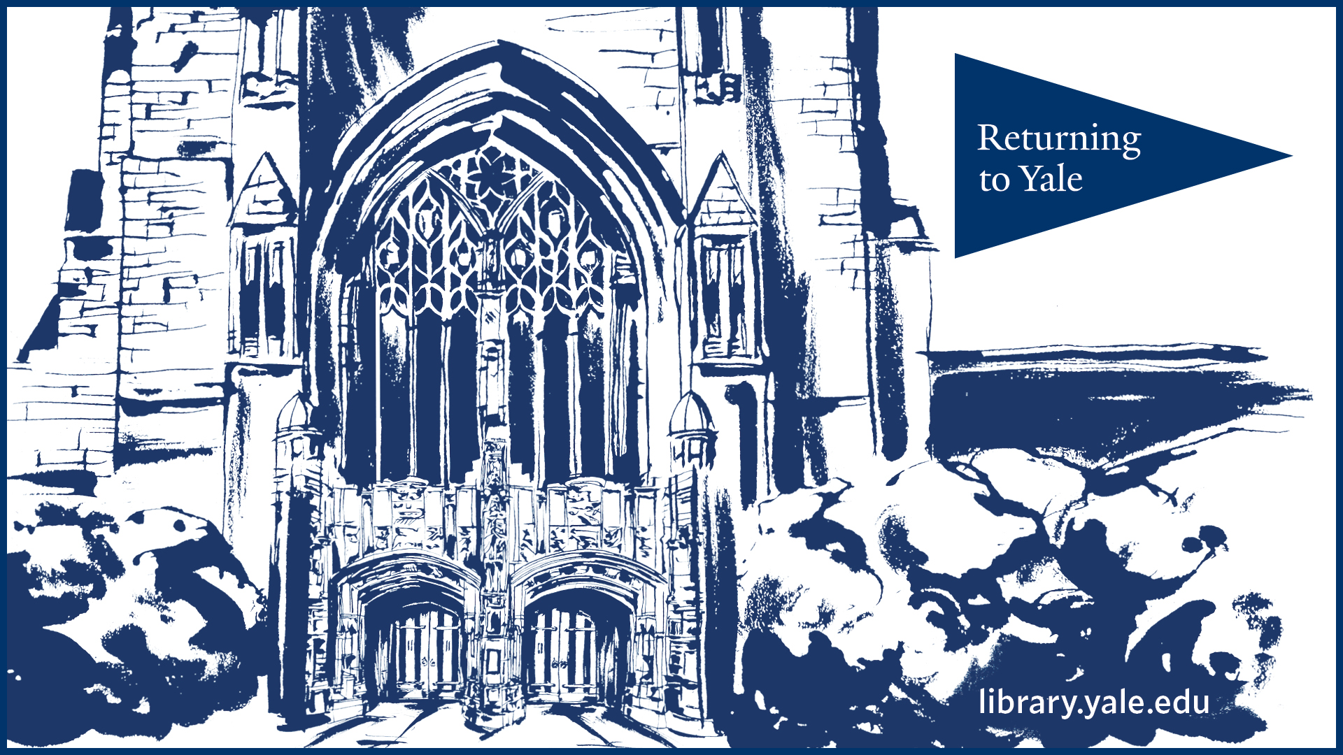 Blue and white illustratiion of the front doors of Sterling Library