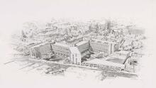 black and white drawing residential colleges