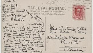 an envelop with handwritten texts with red postage stamp on the top right corner