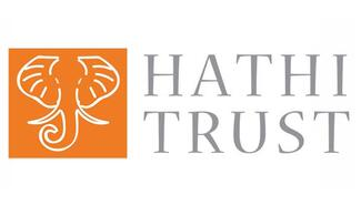 white elephant graphic on orange background with Hathi Trust in text