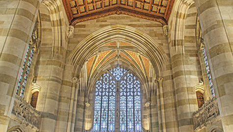 Photo of stained glass window in Sterling Memorial Library